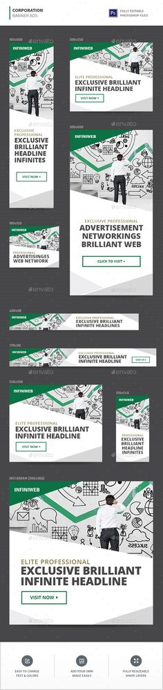 #Corporation #Banner #template - #marketing Banners & Ads Web Elements #design. download; https://graphicriver.net/item/corporation-banners/20408495?ref=yinkira