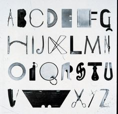 """""""Alphabet with Tools"""" by Mervyn Kurlansky. Everyday objects found in homes and workshops organized into the letters of the alphabet. Typography Letters, Typography Design, Logo Design, Type Design, Best Design Books, Schrift Design, Laszlo Moholy Nagy, Visual Puns, Buch Design"""