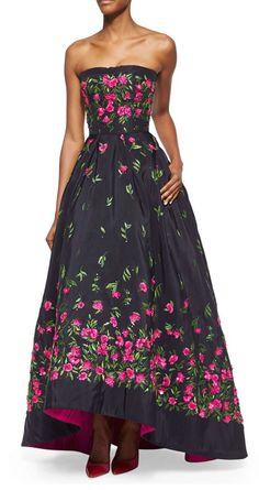 Oscar de la Renta Strapless Floral-Embroidered High-Low Gown