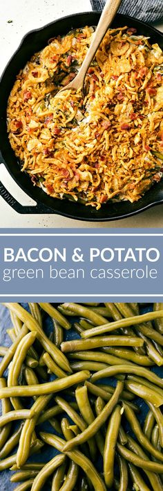 The classic green bean casserole with a fun southern twist -- adding potatoes and bacon! This super simple green bean casserole can be prepared in fifteen minutes! Vegetable Dishes, Vegetable Recipes, Casserole Dishes, Casserole Recipes, Thanksgiving Recipes, Holiday Recipes, Classic Green Bean Casserole, Cooking Recipes, Healthy Recipes