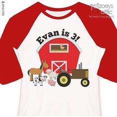 Farm birthday shirt with barn and tractor and by zoeysattic