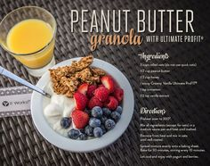 Peanut Butter Granola with ProFIT Shake mix from Get Healthier With Me Protein Shakes, Protein Shake Recipes, Smoothie Recipes, Smoothies, Peanut Butter Granola, Peanut Butter Cups, Profit Recipes, Ways To Eat Healthy, Healthy Foods