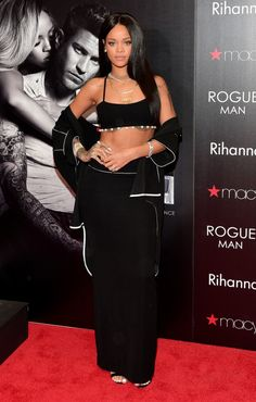 At the Rogue Man Fragrance Launch at the Lenox Square Macy's in Atlanta. See all of Rihanna's best looks.