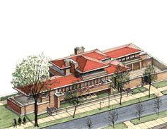 Icónicos Clásicos de Arquitectura representados en vista axonometrica,Casa Frederick Robie / Frank Lloyd Wright / 1910 . Image Cortesía de Diego Inzunza - Estudio Rosamente
