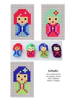 4 Japanese Kokeshi Doll Motif Patterns ___ Square Stitch for Earrings *OR * Loom work a repeating Pattern to Make a Band Bracelet ___ hama perler beads pattern. Would probably work for cross stitch too Perler Bead Designs, Hama Beads Design, Hama Beads Patterns, Beading Patterns, Perler Beads, Fuse Beads, Minecraft Hama, Pixel Beads, Motifs Perler