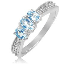 $19.99 - Aquamarine Diamond Accent Sterling Silver 3-Stone Ring