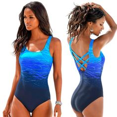 Gradiënt Een Badpak Vrouwen Vintage Badmode Criss Cross Terug Monokini Blauw Bad Pak 2018 Beach Wear Maillot De Bain