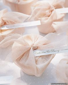 Whip Up Affordable Favors    Stylish tokens needn't be expensive. These biodegradable bowls look sumptuous when wrapped with gauzy fabric and labeled with paper strips that are laser printed in a pretty font. Fill with mini meringues, an economical treat; either make them yourself or ask your caterer to provide them.    DIY Favor Ideas