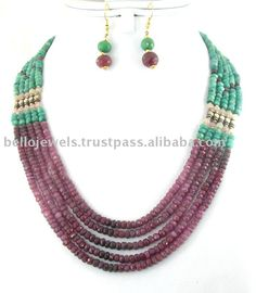 Natural Emerald Ruby Beads Handmade Necklace Jewelry India ...