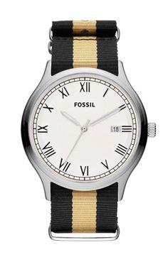 Fossil 'Ansel' Nylon Strap Watch, 41mm available at #Nordstrom