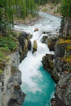 Amazing shot of waterfall in Jasper National Park, Canada.
