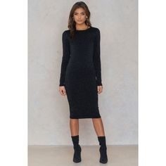 The Long Sleeve Glittery Dress by NA-KD features a high round neckline, long sleeves and a midi length. Red Midi Dress, White Dress, Dress Black, Stylish Dresses, Cute Dresses, Buy Dress, Dresses Online, High Neck Dress, Elegant