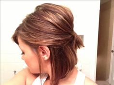 Short bob half up with warm highlights.... If I didn't hate myself with dark hair I would love this!!!
