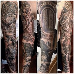 """@timothyboor's photo: """"Super fun Viking themed sleeve finished. Thanks to rob for being a beast! @bohemiantattooclub @fkirons @fusion_ink @redemptiontattoocare @stencilstuff @sullenclothing @greycircleltd #bohemiantattooclub #fkironsproteam #fusionink #redemption #stencilstuff #sullen #sullenartcollective"""""""