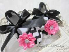 Black Chevron Baby Girl ShoesSoft Sole by babyScarlettBoutique, $14.50