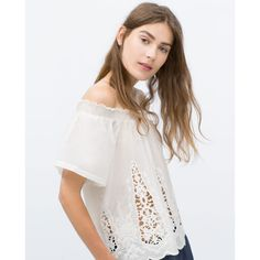 Zara Off-The-Shoulder Top (€27) ❤ liked on Polyvore