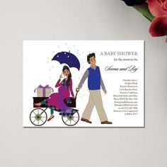 Unique Indian Baby Shower Invitations from #Soulfulmoon-Wagon Diva Umbrella
