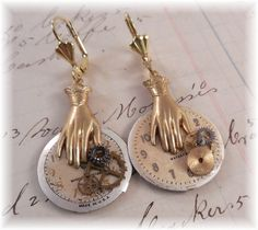 3/20 Sunday Earring Challenge  Earrings Steampunk, B'Sues hand charms. Clock faces and gears.