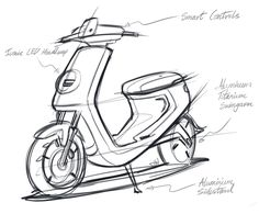Niu Electric Scooter 2016 Size: x x Material: ABS, PP, Aluminium, Steel Role: Design Director / Designer / Project is the second electric smart scooter from Niu. With a continuation of the design DNA from… Scooter Design, Motorbike Design, Bike Sketch, Car Sketch, Design Presentation, Yanko Design, Design Design, Design Model, Logo Design