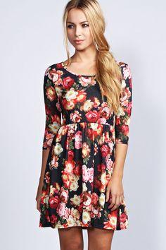 boohoo Sophia Floral 3/4 Sleeve Skater Dress