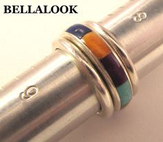 SILPADA R1261 STERLING SILVER MULTI COLOR STONE INLAY 3 STACK SET BAND RING 7 sz #Silpada #Band