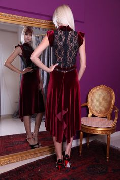 MUST HAVE! http://www.condiva.com/product/2137/bordeaux-black-lace-velvet-dress