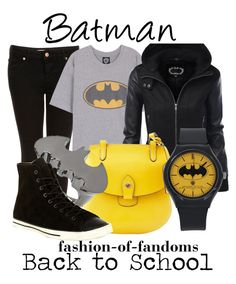 """Batman"" by fofandoms ❤ liked on Polyvore featuring Topshop, Dooney & Bourke, Noir and Converse"