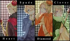 Hetalia Cardverse Kings: Ludwig, Alfred, Francis, and Ivan - Artist unknown