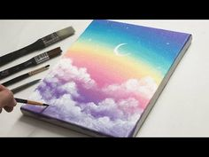 Small Canvas Paintings, Easy Canvas Art, Small Canvas Art, Cute Paintings, Mini Canvas Art, Easy Art, Rainbow Painting, Sky Painting, Rainbow Art