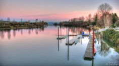 ~Fort Langley Fraser~ By Ernie Kasper #river   #boats   #dock   #trees  #reflection #sunset #peaceful   #nature   #outdoors   #water   #landscapephotography