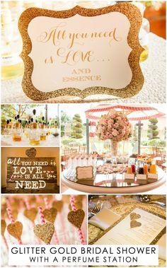 A glitter gold bridal shower featuring a perfume station. #BridalShower Photo: Boyd Harris Photographs. Read More: https://www.insideweddings.com/weddings/gold-ivory-blush-bridal-shower-at-the-fairmont-grand-del-mar/684/