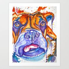 Boxer Blues (Lucille) Art Print by D. Renée Wilson - $19.99