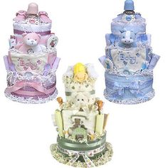 A must-have baby diaper cake! Guaranteed to impress. This magnificent 3 tiered diaper cake creation is sure to impress all who see it! Present one as a generous baby shower gift (or group gift) or use