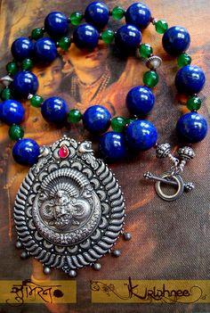 Krishnee - Soumeiran Sterling silver pendant, Lapis Lazuli rounds, Emerald Green Quartz  and Burgundy Quartz Pinned by Sujayita