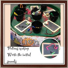 Witch and wizard theme in EYFS. Potion making continuous provision. Choose the spooky objects and put them in your cauldron. Write the initial sounds on the blackboards.