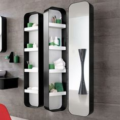 Swivel technology enables easy access to mirrored side and shelving - in white for bath #3?? $1,069.20/ea