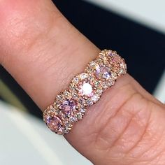 5 Stone Soft Pink Morganite and Pave Set Diamond Halo Anniversary Wedding Ring - Diy Best Jewelry Diamond Jewelry, Jewelry Rings, Jewelry Accessories, Fine Jewelry, Wedding Jewelry, Wedding Rings, Wedding Anniversary Rings, Morganite Ring, Halo Diamond