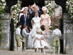Pippa Matthews and James Matthews exit the church after their wedding ceremony followed by Catherine, Duchess of Cambridge (R)at St Mark's Church on May 20, 2017 in Englefield Green, England. (Photo by Samir Hussein/Samir Hussein/WireImage)