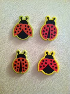 Lovely Ladybug Magnets by WhimsyWoodcrafts on Etsy, $2.50