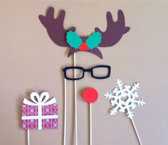 Christmas Photo Booth Props - Set of 5 Rudolph The Red Nosed Reindeer Holiday PhotoBooth Props Christmas Party Decorations Photo Prop