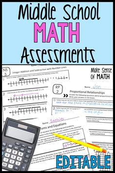 Check out these math assessments for middle school. These quick and editable assessments are for your 7th grade math and 8th grade math students. These work great as formative assessments in your middle school math classroom These are based on the common core standards and will make your planning easier as a math educator. Click here to check out these tests. #makesenseofmath Algebra Games, Algebra Activities, Math Games, Math Teacher, Future Classroom, School Classroom, Classroom Ideas, Education Middle School, Middle School Writing