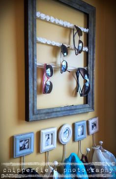 Sunglass and hat storage,, I Really like the sunglasses on Ribbon attached to a Frame! How Cool!