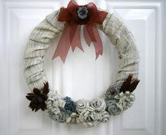 winter home decor shabby chic wreath winter by creationmoodmarias, €35.00
