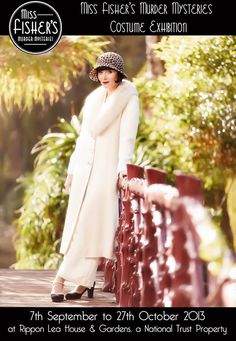 The Australian TV Series, Miss Fisher's Mysteries, is set in post-war Melbourne, Australia in the 1920's. Miss Fisher stylishly solves crimes in beautiful costumes - some are authentic antiques but most are made for the show based on the beautiful clothing of the period. From the Miss Fisher Facebook page, we learn that the lucky Australians will have an exhibit of costumes:
