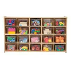 "Contender - RTA - 20 Tray Storage w/ Clear Trays - GREENGUARD Children & Schools. Cubby unit provides storage organization for small toys; knick-knacks; or supplies that may otherwise be misplaced. 100% Plywood with mortise & secure fastener construction for exceptional strength and durability. UV Finish provides unsurpassed protection and beauty. Lifetime warranty and MADE IN THE USA. Unassembled or Assembled options available. Casters available separately. 12""D x 27-1/4""H x 46-3/4""W"