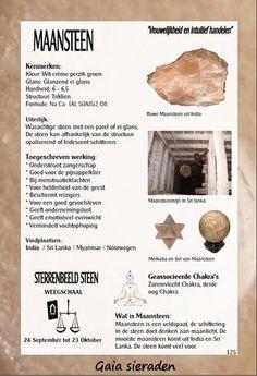 Maansteen - Gaia sieraden Minerals And Gemstones, Rocks And Minerals, Crystals And Gemstones, Stones And Crystals, Healing Stones, Crystal Healing, Wiccan Magic, Chakra Crystals, Reiki