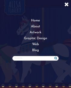 Carousel Horse Theme Mobile Menu Web Design - www.alisaflaherty.com