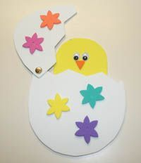 Peek-A-Boo Chick This cute Easter craft a kid favorite. Cut out your craft foam pieces using our provided template and assemble them so that your baby chick can hatch out of his beautifully decorated egg. Our daughter played with the peek-a-boo chick craft over and over again and loved to show it off to family and friends. This peek-a-boo chick makes a fantastic preschool craft for Easter!