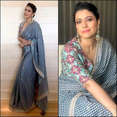 Latest Bollywood Replica Saree Collection from Stf Store Kajol Saree, Bollywood Saree, Saree Blouse Neck Designs, Blouse Patterns, Indian Dresses, Indian Outfits, Lehenga Choli, Anarkali, Sari Bluse