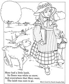 Nursery Rhyme Coloring Page Inkspired Musings Mary Had A Little Lamb Fun